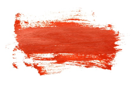 Red brush strokes on the white background photo