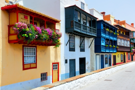 Colorful houses with balconies in Santa Cruz de La Palma, Canary Islands photo