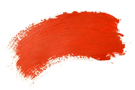 Red brush stroke over the white background photo