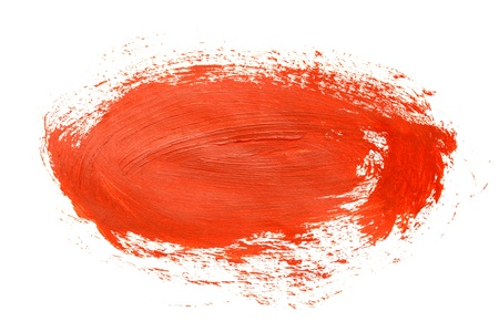 Red round brush stroke on the white background photo