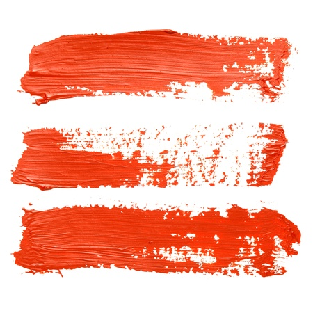 paint strokes: Set of red brush strokes
