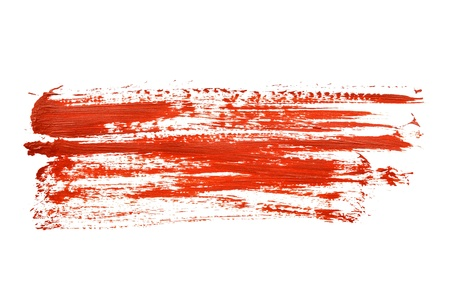 Red brush strokes over the white background photo