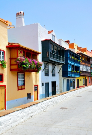 Colorful houses with balconies in Santa Cruz de La Palma, Canary Islands