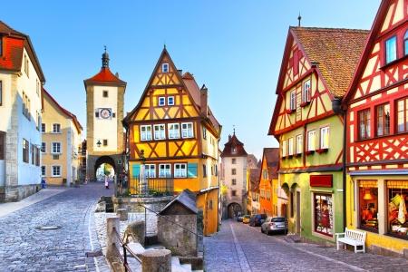La strada più famosa di Rothenburg ob der Tauber, Baviera, Germania Archivio Fotografico - 21953492