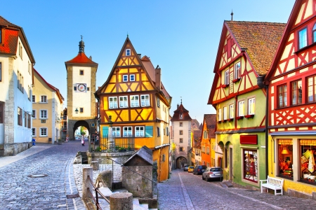 The most famous street in Rothenburg ob der Tauber, Bavaria, Germany 版權商用圖片 - 21953492