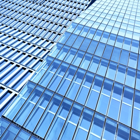 Wall of office buildings close-up photo