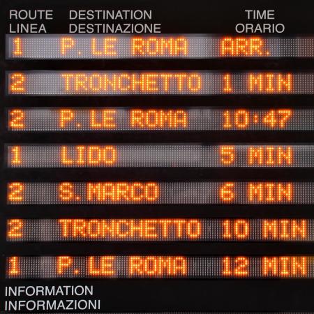 waterbus: Timetable of waterbuses  vaparetto  in Venice, Italy