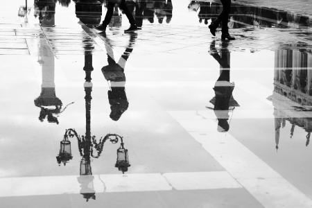 Venice reflects in puddle, Saint Marco square, Italy Stock Photo - 22932619