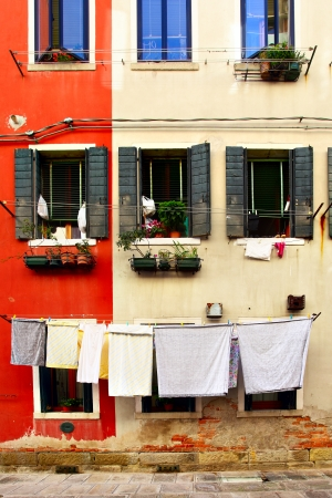 Clothes drying outdoor in Venice, Italy photo