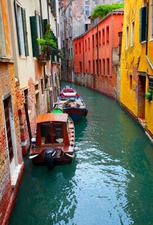 the little venice: Little canal with boats in Venice, Italy Stock Photo