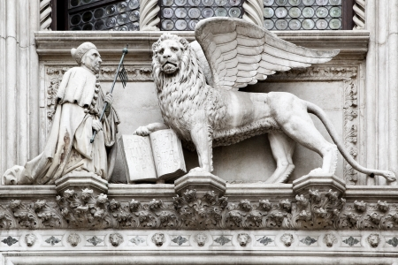 st mark's square: St  Mark and winged venetian lion in Venice, Italy