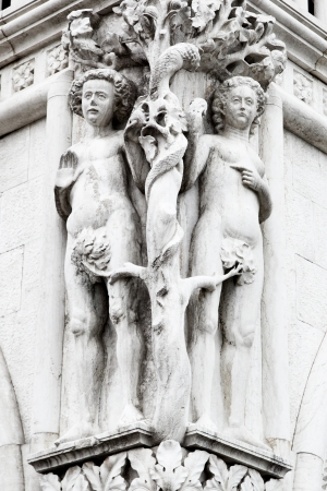 adam eve: Adam and Eve on the facade of the Doge
