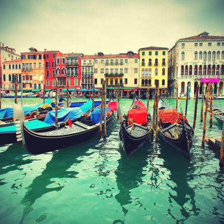 Gondolas on Grand Canal, Venice, Italy, retro style photo