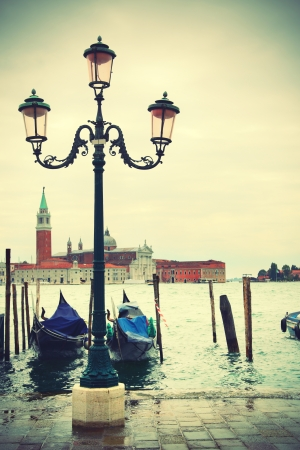 Quay in Venice, Italy  Retro style  photo