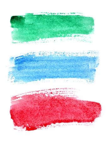 白でカラフルな水彩ブラシ ストローク