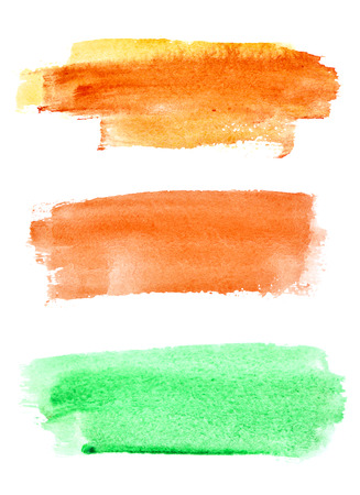 Colorful watercolor brush strokes over white