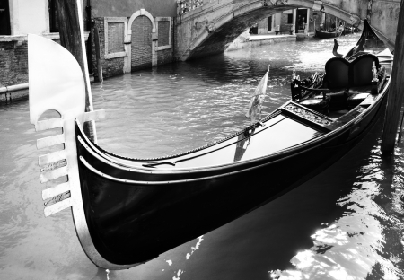 Gondola on canal in Venice, Italy Black and white image
