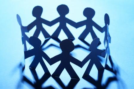 sameness: Team of paper people Stock Photo