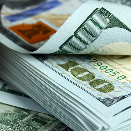 one dollar bill: Bundle of new hundred dollar bills Stock Photo