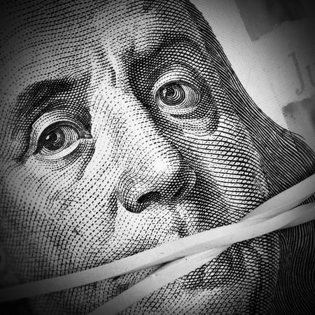 subornation: Money keeps silent  Corruption and crime concept Stock Photo