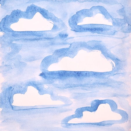 pictured: Blue sky with clouds. Watercolor painting