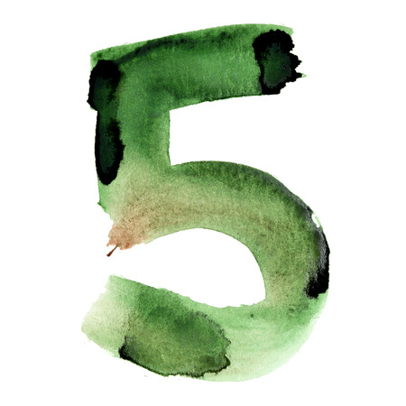 Five - Watercolor figures over white background photo