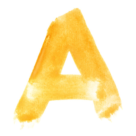A - Watercolor letters over white background photo