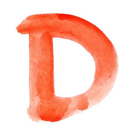 D - 白い背景上の水彩画の手紙