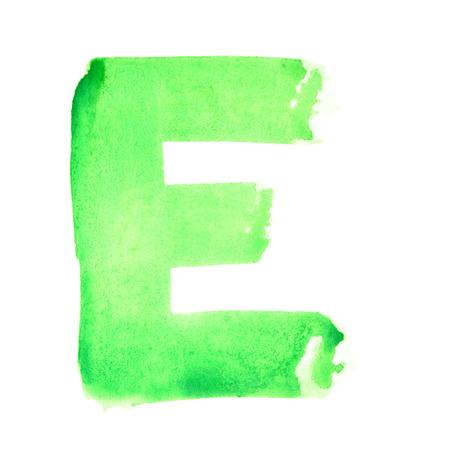 E - 白い背景上の水彩画の手紙
