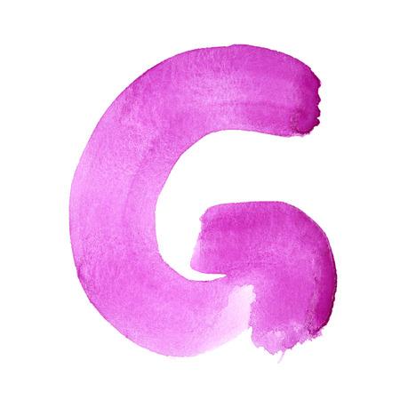 G - 白い背景上の水彩画の手紙 写真素材