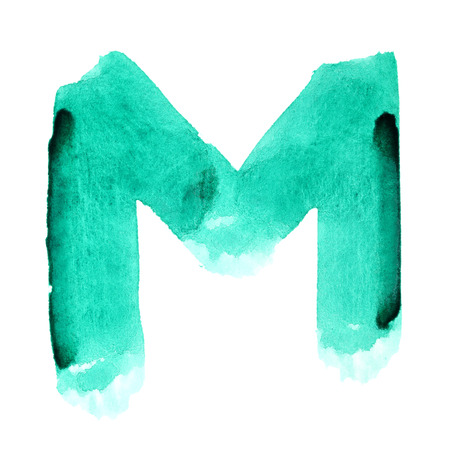 M - Watercolor letters over white background Stock Photo