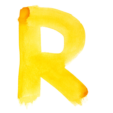 R - Watercolor letters over white background Banco de Imagens