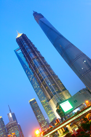 jin mao tower: Shanghai World Financial Center  SWFC ,  Jin Mao Tower and Shanghai Center under constructing, China