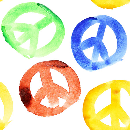 pacificist: Colorful peace signs seamless pattern