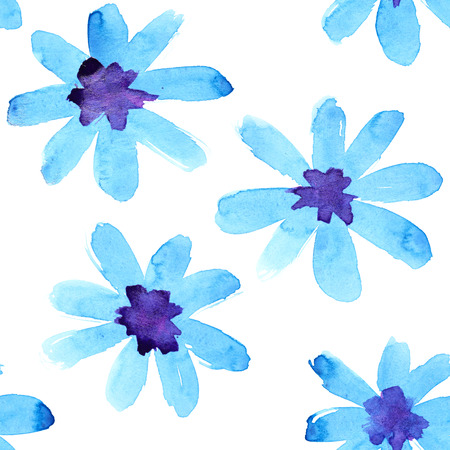 Blue watercolor flowers seamless pattern photo