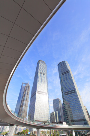flyover: Shanghai Lujiazui flyover and buildings Stock Photo