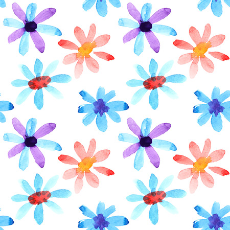 Colorful watercolor flowers seamless pattern photo