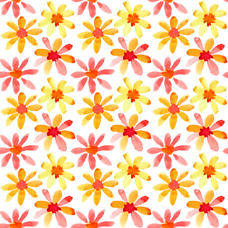 Colorful watercolor flowers - seamless pattern photo
