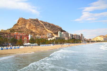 beaches of spain: Beach in Alicante, Costa Blanca, Spain Stock Photo