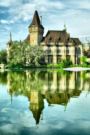 reflects: Vajdahunyad castle reflects in the lake, Budapest, Hungary  Editorial