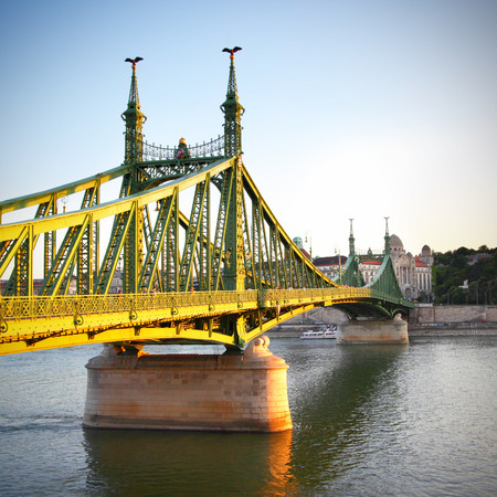Liberty Bridge in Budapest at sundown, Hungary