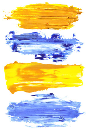 Colorful brush strokes of oil paint photo