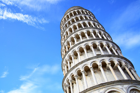 Leaning Tower of Pisa against blue sky with copyspace, Italy photo