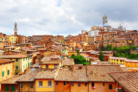 siena italy: Panoramic view of Siena, Italy Stock Photo