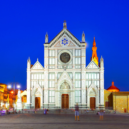 Basilica di Santa Croce in Florence at night, Italy photo