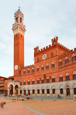 sienna: Campo Square and Tower in Siena, Italy