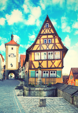 half timbered: Old street in Rothenburg ob der Tauber, Bavaria, Germany. Toned image