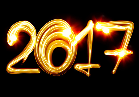 Happy New Year 2017 by light photo