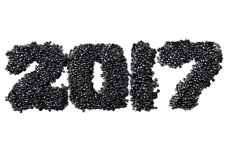 1 2 month: Happy New Year 2017 of black caviar Stock Photo
