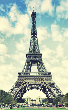 The Eiffel Tower in Paris, France. Toned image photo